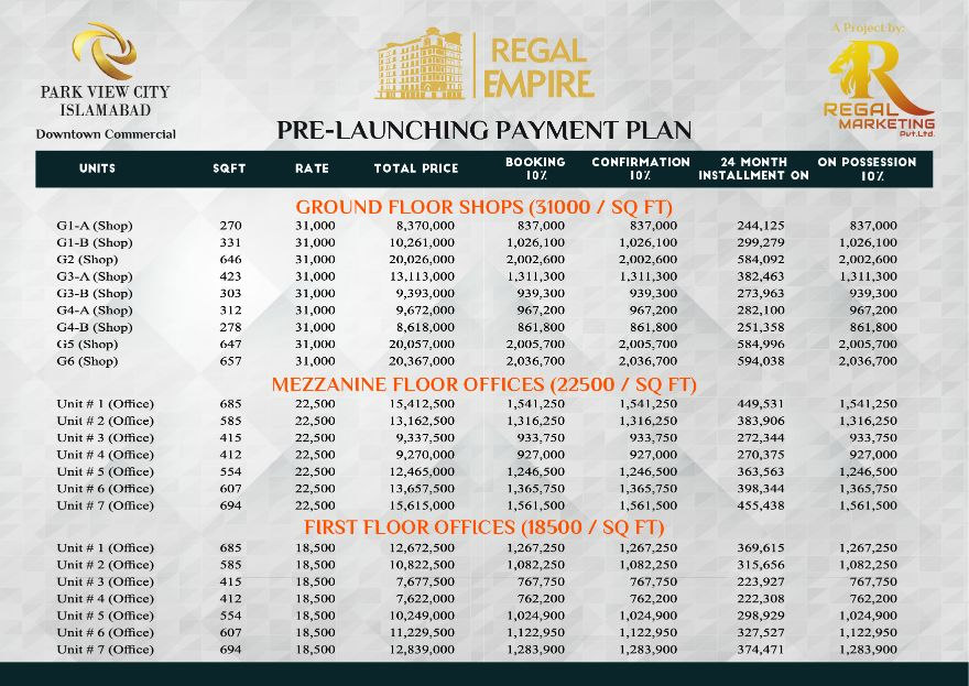 Regal Hight Rate List 19.03.2021-01