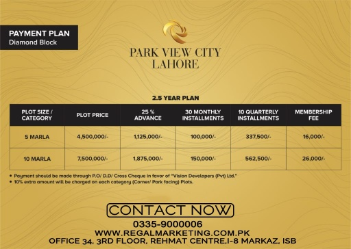 Payment Plans of Park View City Lahore Diamond Block
