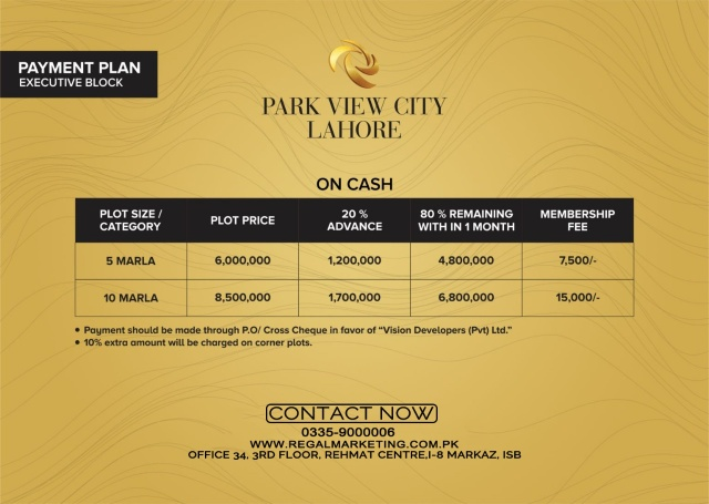 Payment Plans of Park View City Lahore Executive Block