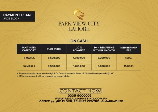 Payment Plans of Park View City Lahore Jade Block