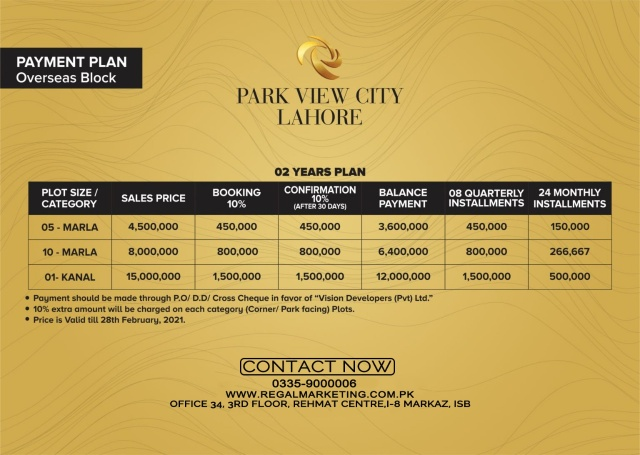 Payment Plans of Park View City Lahore Overseas Block