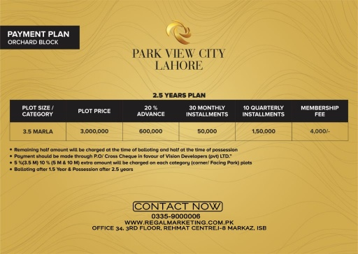 Payment Plans of Park View City Lahore Orchard Block