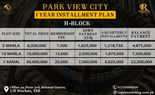 Park View City Islamabad H Block Payment Plans
