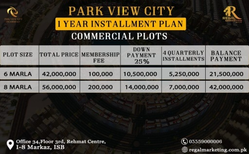 Park View City Islamabad Commercial  Block Payment Plans