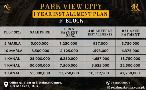 Park View City Islamabad F Block Payment Plans