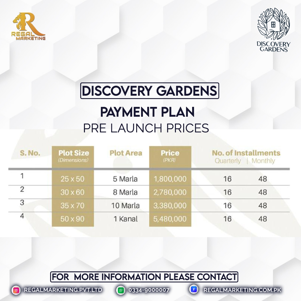 discovery garden pre launch payemnt paln