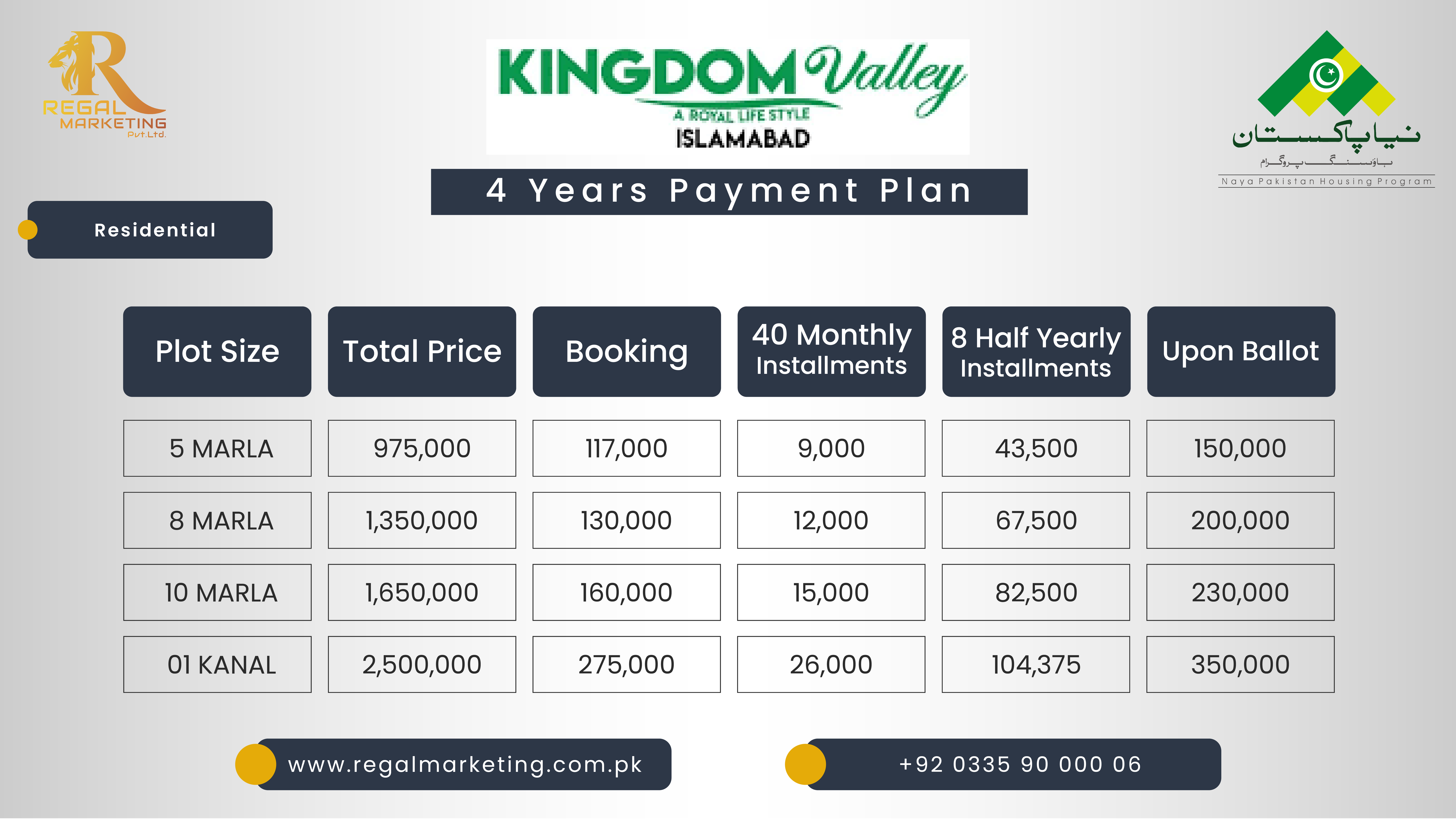 Kingdom valley Islamabad residential plot Payment plan